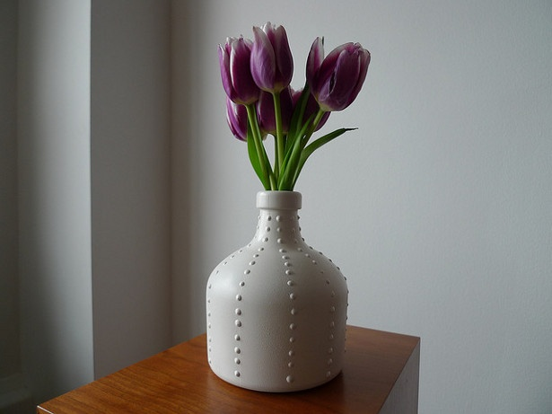 Vase made from a recycled rum bottle
