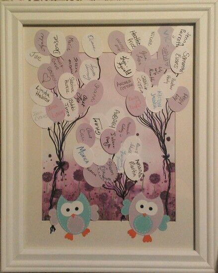 baby shower guest book idea gufi owls pinterest