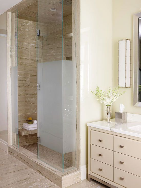 Mixing Styles: Privacy, Please.  A narrow hallway that opens up to the main portion of the bathroom houses the shower and water