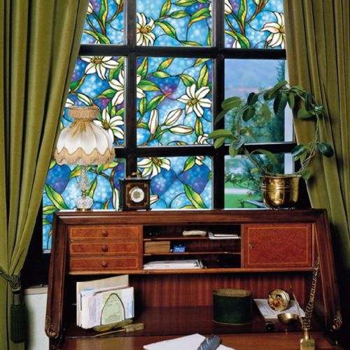 Wonderful Stained Glass Window Film : Stained Glass Decorative Window Film Vinyl Static Cling Privacy Films ...