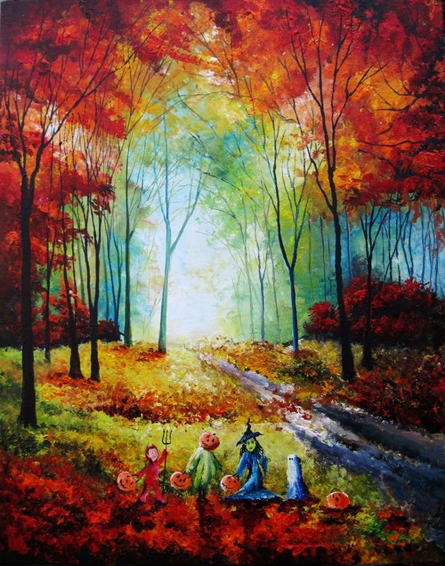 Image result for autumn halloween art