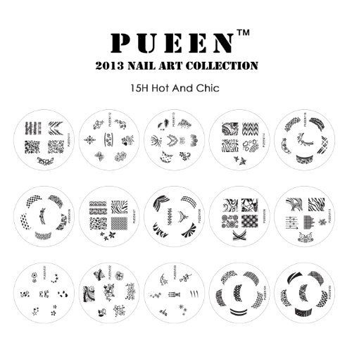 PUEEN Nail Art Stamp Collection Set 15H - Most Popular Designs Set of ...