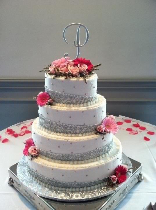 Pink And Silver Wedding Cake Wedding Pinterest