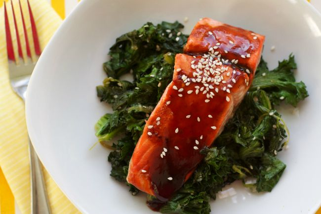 Citrus Hoisin Salmon and Sesame Sauteed Kale : Oven Love