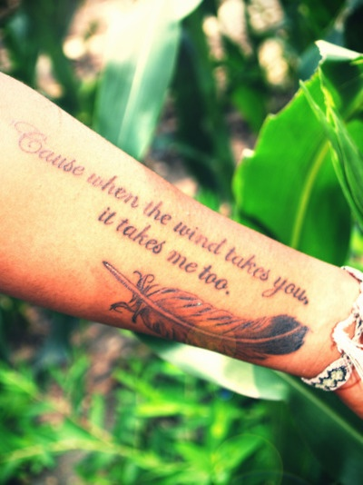 LOVE this, but with a dandelion instead of the feather <3