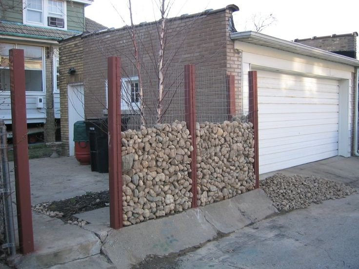 gabion fence for noise.  GABIONS  Pinterest