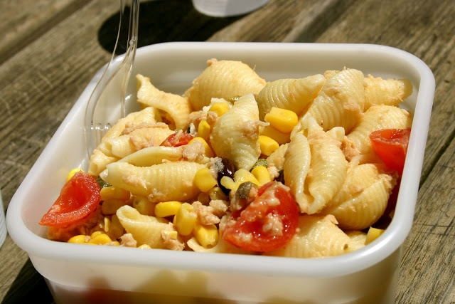 Picnic Lunch: Cold Pasta With Tuna, Capers, Olives & Tomatoes and ...
