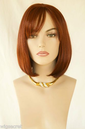 Straight Bob With Bangs Medium Blonde Brunette Straight Wavy Skin Top Wigs | eBay