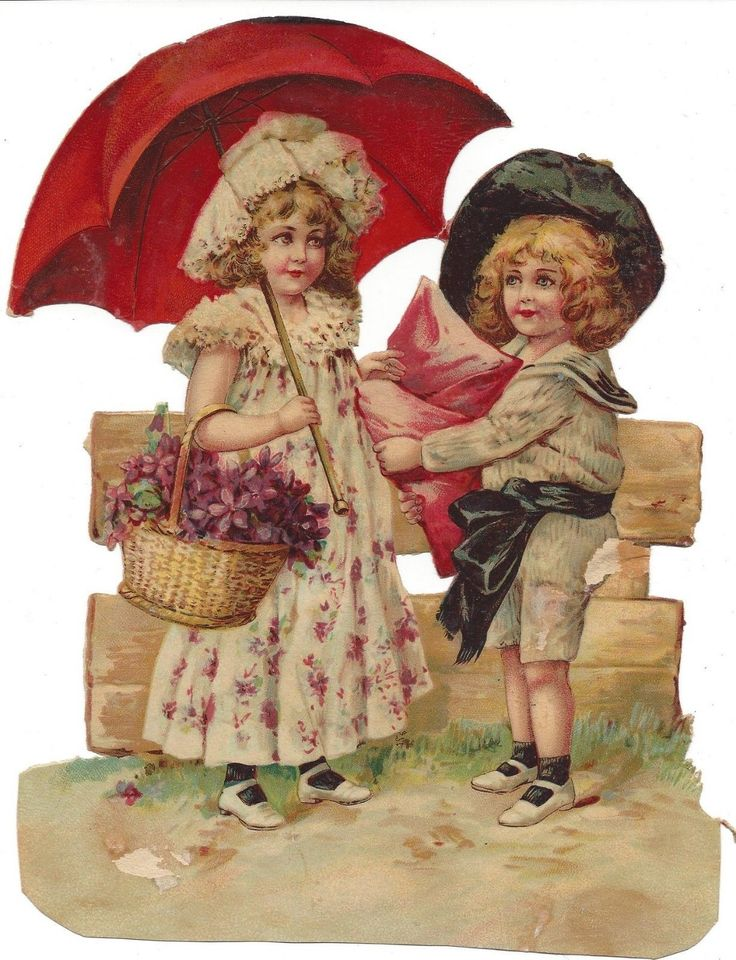 Victorian Die Cut Scrap Large Scrap Girl and Boy with Umbrella and one smaller picclick.com