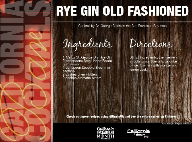 Rye Gin Old Fashioned Cocktail created by St. George Spirits in # ...