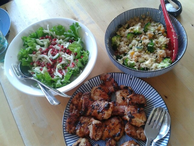 Fennel and pomegranate salad, quinoa, lemon and maple chicken
