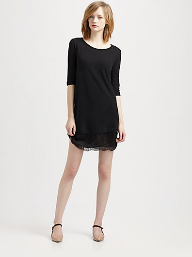 Clu - Lace-Trim T-Shirt Dress - Saks.com | gift ideas | Pinterest