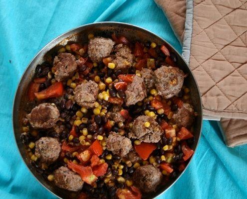 Southwest Meatball Skillet Recipe — Dishmaps
