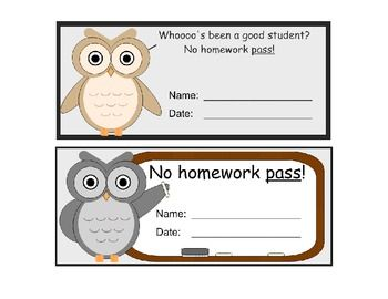 homework pass printables