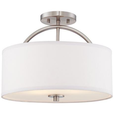brushed nickel finish semi flush 15 wide ceiling light. Black Bedroom Furniture Sets. Home Design Ideas