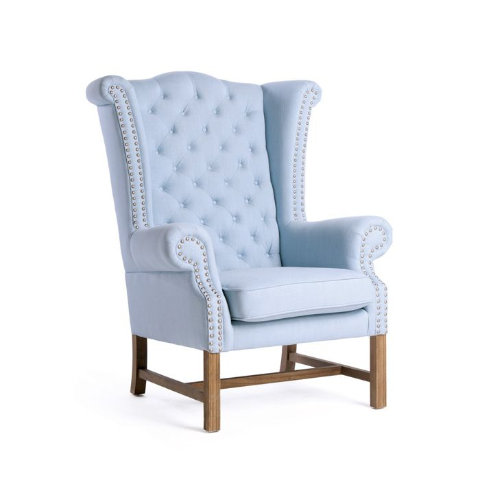 Decor collection vintage style wing back wood amp cotton baby blue chair