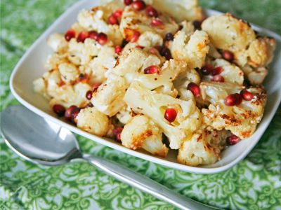 Roasted Cauliflower with Blue Cheese, Garlic and Pomegranate | Recipe
