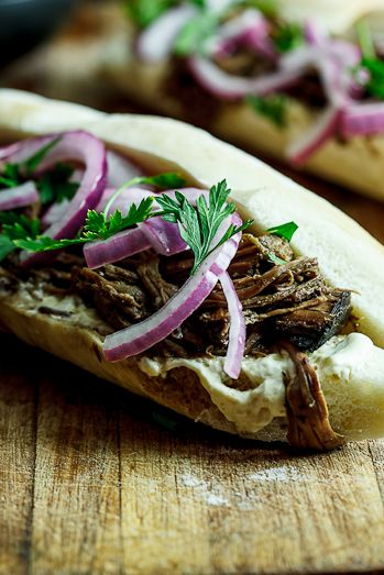 "beef sandwiches with horseradish cream - ""Slow-roasted Balsamic beef ..."