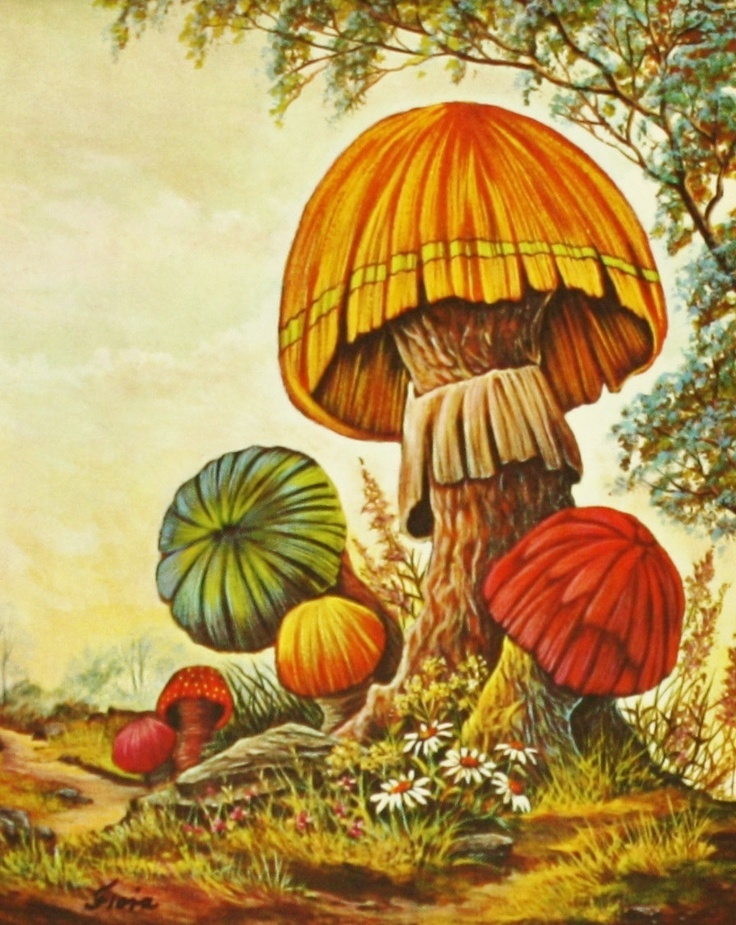 Vintage 1970s Psychedelic Mushroom Woodland Forest (Matted 8 x 10 ...