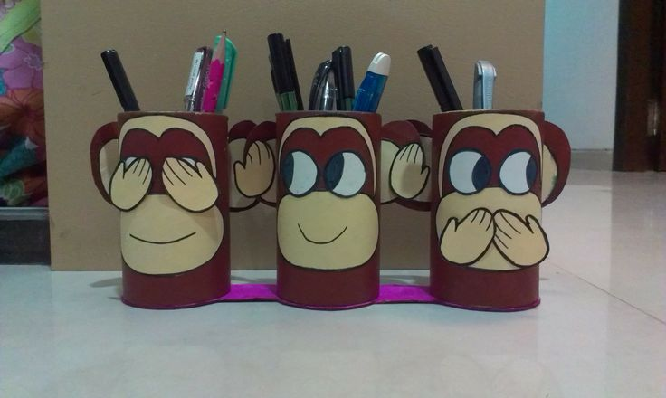 Gandhiji 39 s 3 monkeys pen stand best out of waste product - Best out of waste with straws ...