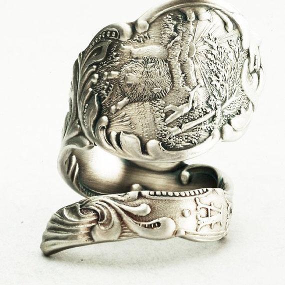 Vintage Indiana Souvenir Sterling Silver Spoon Ring by Spoonier
