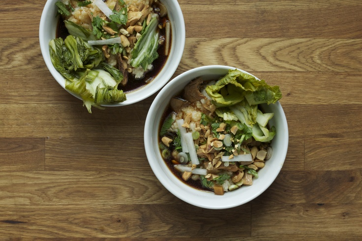 ... | Rice Congee, Red-Braised Chicken Thighs and Pickled Mustard Greens