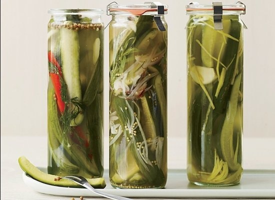 Spicy Dill Quick Pickles--20 minutes to prepare then overnight to brine...but what I really love is the tall glass pickle jars! Great hostess gift for that BBQ you are invited to!