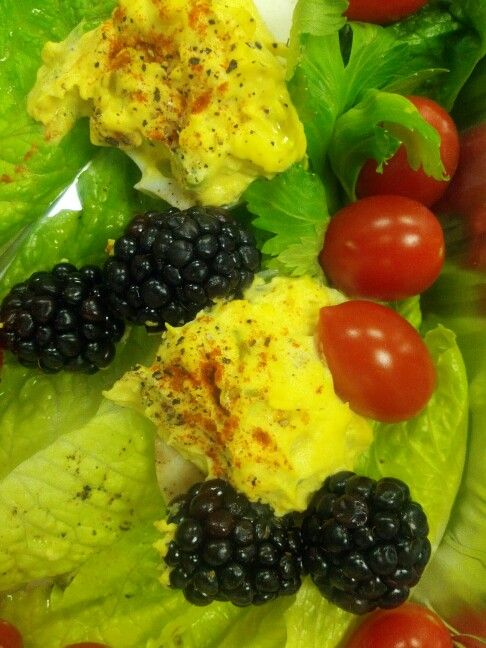 "Deviled Eggs ""POP"" ! when served with sparkling Blackberries & ..."