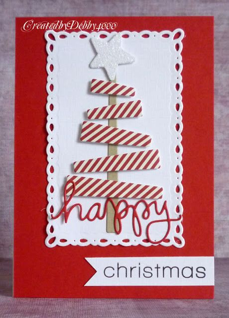 handmade Christmas card from A Scrapjourney ... red and white ... luv the crisp look of white die cuts on deep red background ... die cut stacked tree with striped paper ... wonderful card!