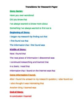 List of transition words for research paper
