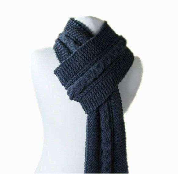 Mens Knit Scarf in Charcoal Grey Fall Winter by ForYouDesign 4200 How To Knit Scarves For Men