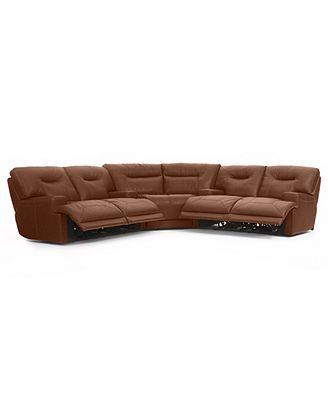 Ricardo Leather Reclining Sectional Sofa 3 Piece Power