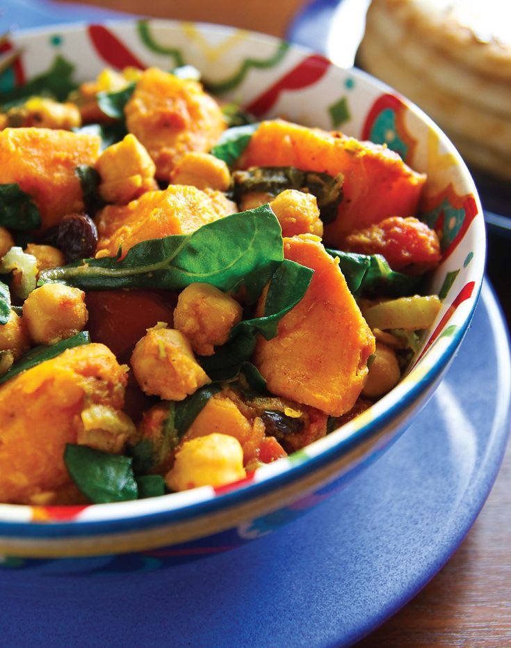 Curried Sweet Potatoes with Chard and Chickpeas   Recipe