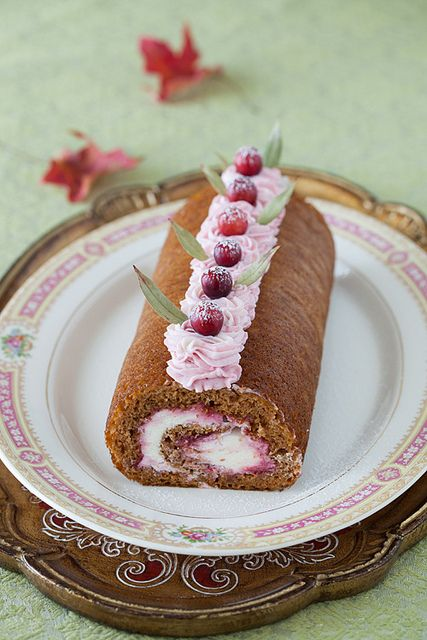 Rolled Pumpkin Spice Cake with Cranberry Jam, Grand Marnier Syrup ...