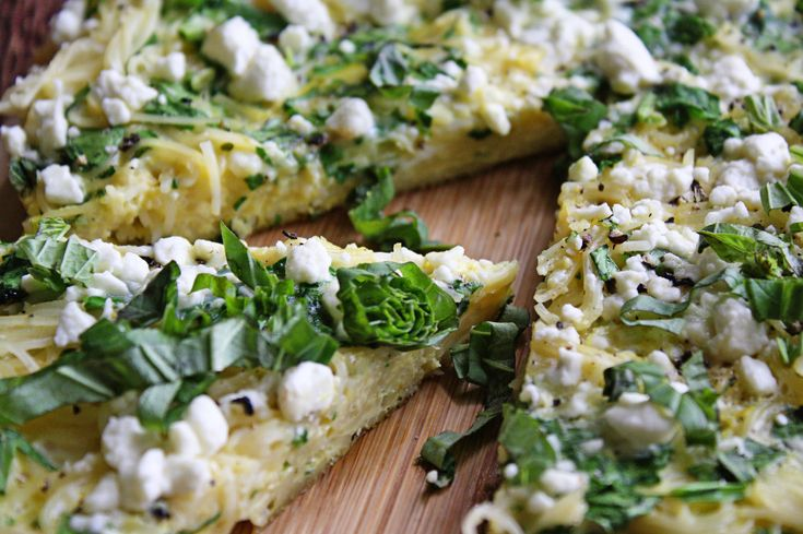 Spinach & Lemon Spaghetti Frittata with Feta and Basil