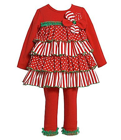 324 months mixedmedia tiered holiday dress and leggings set dillards