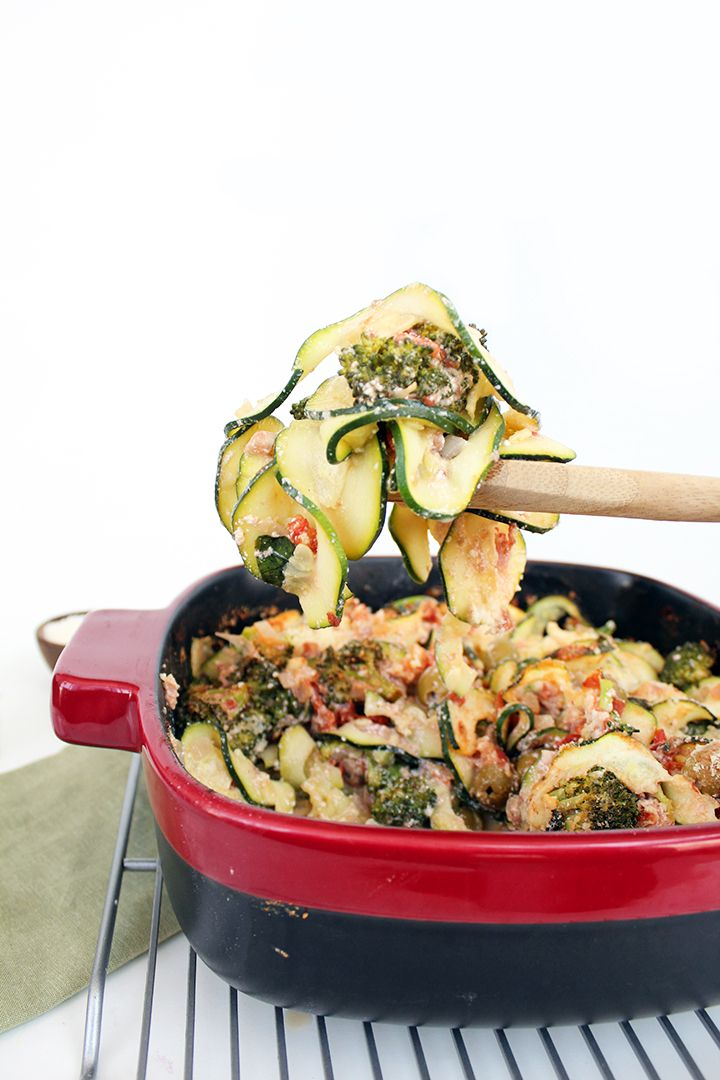 Baked Zucchini Pasta with Pancetta, Olives and Broccoli