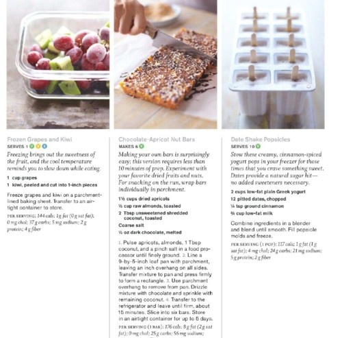 ... Grapes and Kiwi, Chocolate-Apricot Nut Bars, Date Shake Popsicles