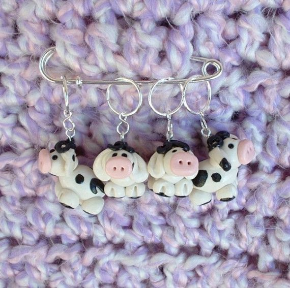 Cow knitting or crochet stitch markers Polymer by TheClaySheep, $16.00