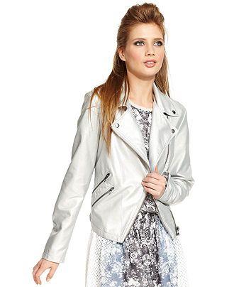 Bar III Front Row Jacket, Metallic Faux-Leather Motorcycle - Jackets