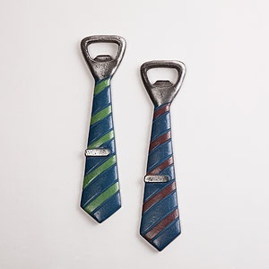 Taking the form of preppy striped neckwear, complete with tie clip, Cost Plus World Market's whimsical Tie Bottle Opener is a useful gift for your favorite guy.