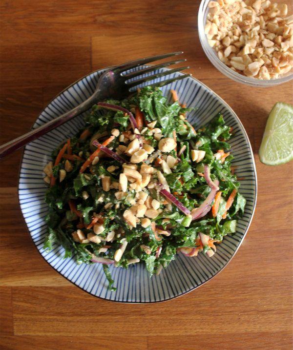 Kale Slaw with Spicy Peanut Dressing - plentytude