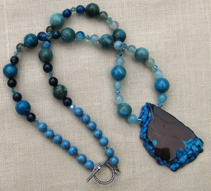 Duck Agate Large Freeform Drop Necklace - $78