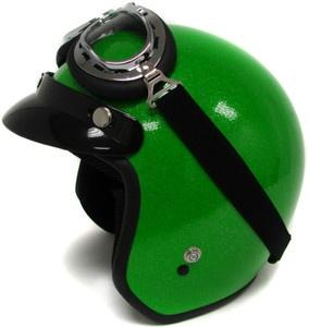 ... Flake Motorcycle Helmet Vintage Green Open Face Racer HELMET+GOGGLES~S