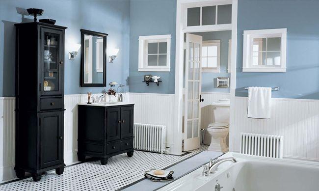 Blue white black bathroom design pinterest Blue and white bathroom