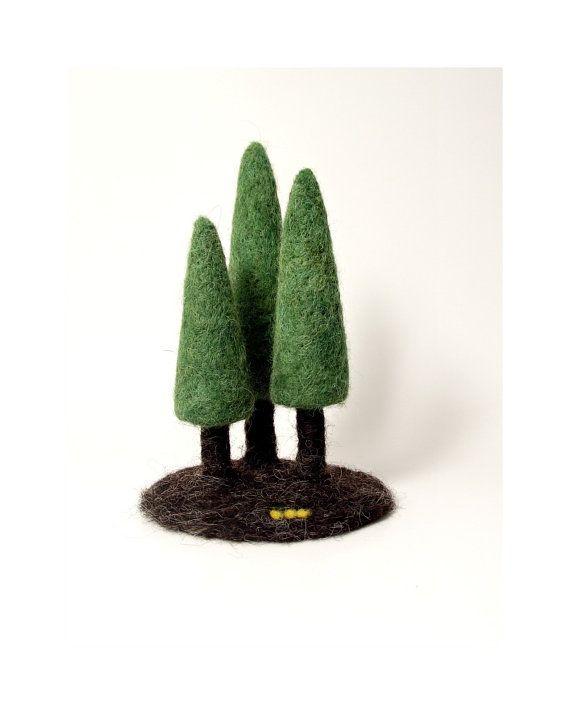 Modern Felt forest needle felted pine tree trio by needleandfelt, $34 ...