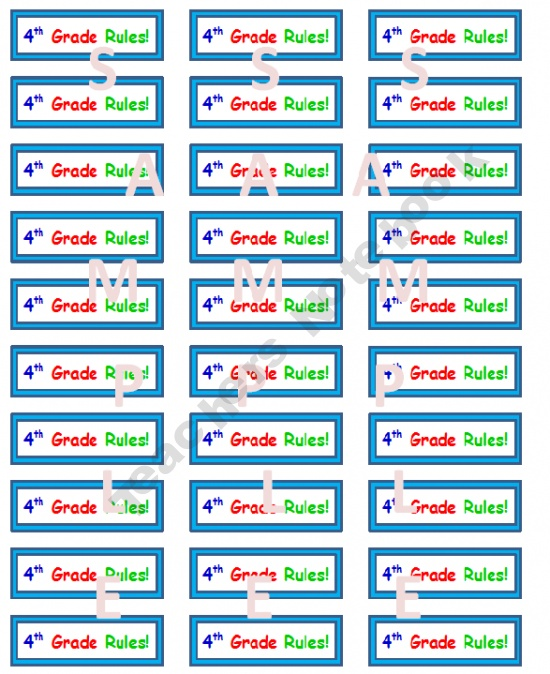 """""""4th Grade Rules!"""" Stickers"""