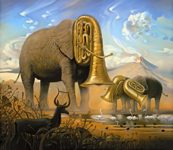 "This painting is ""African Sonata,"" by Vladimir Kush. It has grassland made of trumpets and cymbals, an antelope with a lyre for horns, and clouds shaped like musical notes. The center of attention is three elephants with tubas for heads. It shows the similarity of how both elephants and tubas make loud, powerful noises. Yet, it juxtaposes how the sound of an elephant's trumpeting and other noises of Africa are natural but the music produced by a tuba and other instruments are man-made."