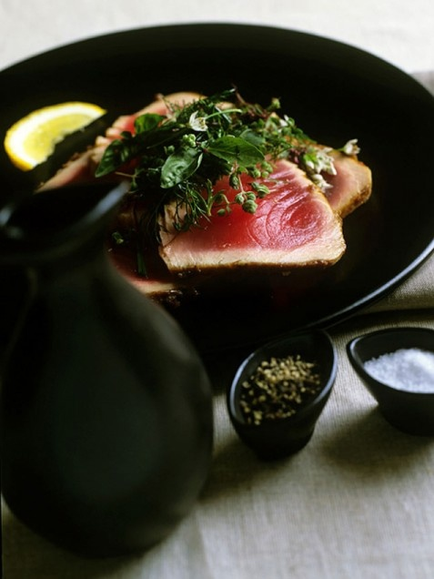 Miso-Glazed Seared Tuna with Fresh Herb Salad. You've probably seen a ...