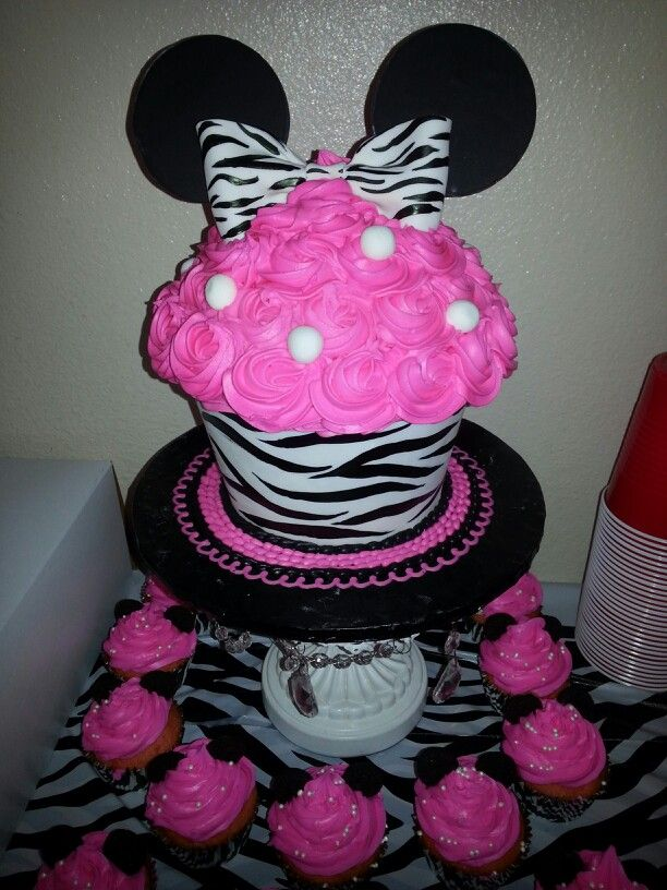 minnie mouse with zebra print themed baby shower cupcake cake tara